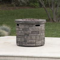 Angeles Outdoor Propane Circular Fire Pit Table with Lava Rocks by Christopher Knight Home