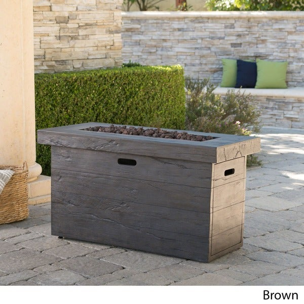 Custer Outdoor Rectangular Fire Pit by Christopher Knight Home. Opens flyout.
