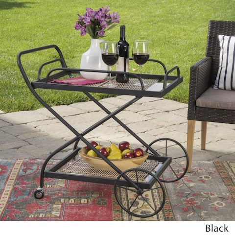 Indio Outdoor Traditional Glass Bar Cart with Shelves by Christopher Knight Home