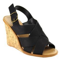 Women's Beston Catrina-S Wedge Sandal Black Nubuck Faux Leather