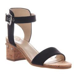 Women's Madeline Glow Block Heel Ankle Strap Sandal Black Textile/Synthetic