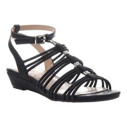 Women's Madeline Sound Ankle Strap Wedge Sandal Black Synthetic