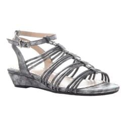 Women's Madeline Sound Ankle Strap Wedge Sandal Silver Synthetic
