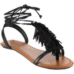Women's Beston Rayna-S T Strap Sandal Black Faux Leather