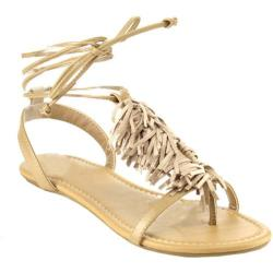 Women's Beston Rayna-S T Strap Sandal Natural Faux Leather
