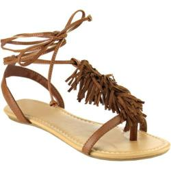 Women's Beston Rayna-S T Strap Sandal Tan Faux Leather