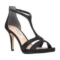 Women's Nina Brietta Strappy Sandal Black Luster Satin