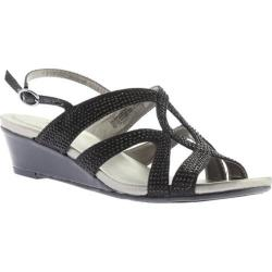 Women's Bandolino Gomeisa Wedge Slingback Black Twilight Fabric