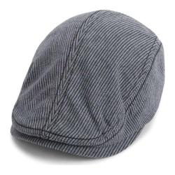 Men's Ben Sherman Linen Stripe Driver Cap Black