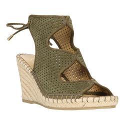 Women's Franco Sarto Nash Wedge Sandal Vintage Sage Velour Suede Leather