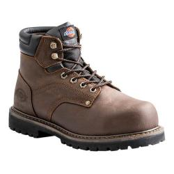Men's Dickies Ratchet 6in Steel Toe Safety Work Boot Brown Full Grain Leather