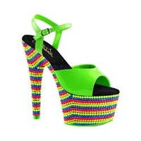 Women's Pleaser Adore 709RBS Ankle Strap Sandal Neon Green Patent/Neon Multi