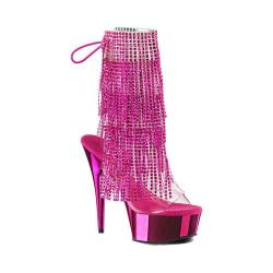 Women's Pleaser Delight 1017RSF Ankle Boot Clear PVC-Fuchsia/Fuchsia Chrome