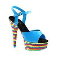 Women's Pleaser Delight 609RBS Ankle Strap Sandal Neon Blue Patent/Neon Multi