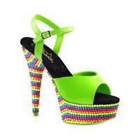Women's Pleaser Delight 609RBS Ankle Strap Sandal Neon Green Patent/Neon Multi