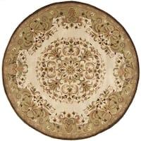 Safavieh Handmade Heritage Timeless Traditional Beige Wool Rug - 3'6 x 3'6 round