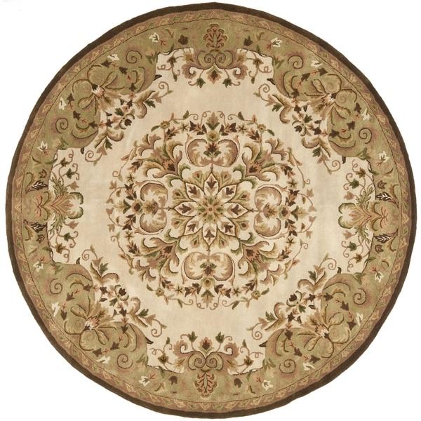 Safavieh Handmade Heritage Timeless Traditional Beige Wool Rug - 4' x 4' Round