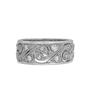 Sterling Essentials Sterling Silver Swirl Clear Cubic Zirconia Ring