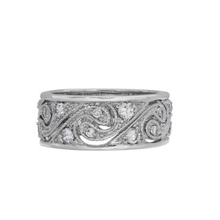 sterling essentials sterling silver swirl clear cubic zirconia ring - Cubic Zirconia Wedding Rings That Look Real