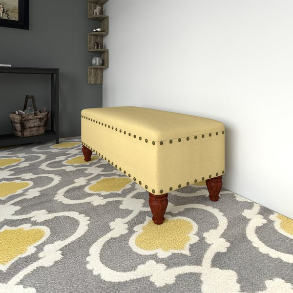 Upholstered Storage Bench With Nailhead Trim By HomePop
