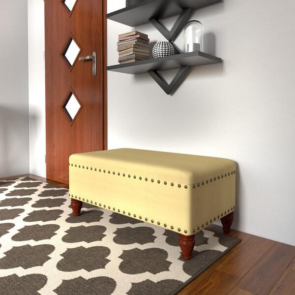 Porch U0026amp; Den Los Feliz Finley Vanilla Linen Nailhead Storage Bench