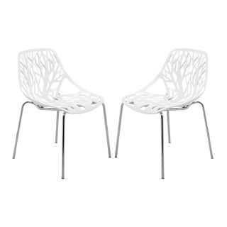 Porch & Den Dundee Hamilton White Dining Chair with Chrome Legs (Set of 2)