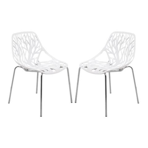 Porch & Den Elise White Dining Chair with Chrome Legs (Set of 2)