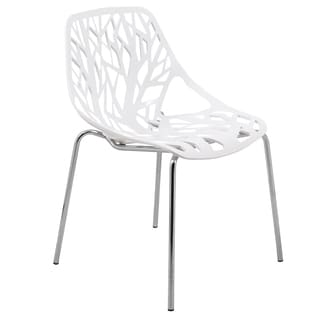 Porch & Den Dundee Hamilton White Dining Chair with Chrome Legs