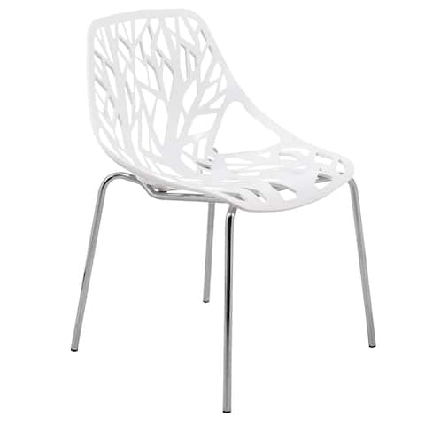 Porch & Den Elise White Dining Chair with Chrome Legs