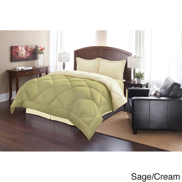 Cream ! 3-Piece Reversible Down Alternative Comforter Set and Shams Chocolate