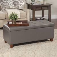 Porch & Den Ambrose Charcoal Grey Leatherette Storage Bench