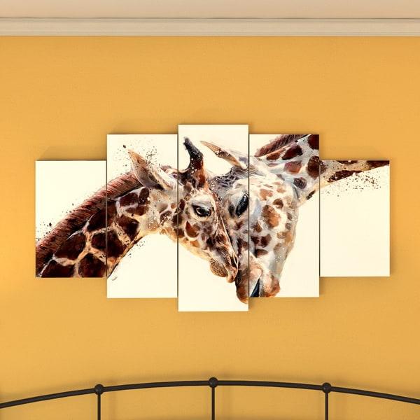 The Curated Nomad Design Art 'Loving Giraffes' Canvas Art Print