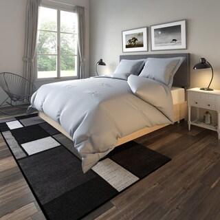 Porch & Den New Town Lydias Silver Grey Greek Key Embossed Microfiber Plush Comforter Set