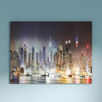 Porch & Den Lit NYC Manhattan Skyline' Cityscape Photo Canvas Print