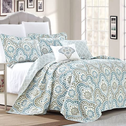 Copper Grove Boylston Ikat Blue 5-piece Coverlet Set