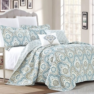 Porch & Den Zilker Park Stratford Ikat Blue 5-piece Coverlet Set