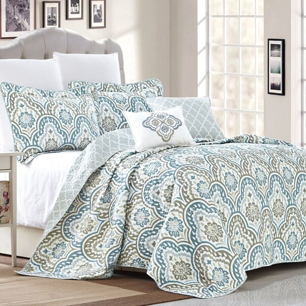 Copper Grove Boylston Ikat Blue 5-piece Coverlet Set. Opens flyout.