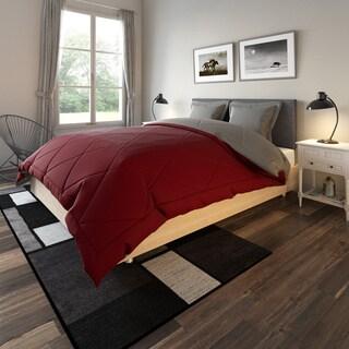 Porch & Den Woodland Springs Lakeshore Down Alternative Burgundy and Grey Reversible 3-piece Microfiber Comforter Set