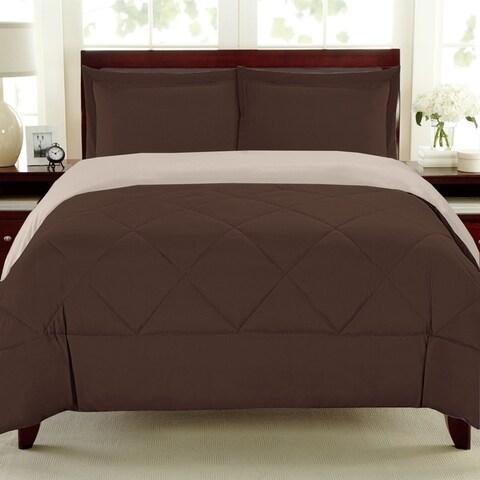 Porch & Den Lakeshore Down Alternative Burgundy and Grey Reversible 3-piece Microfiber Comforter Set