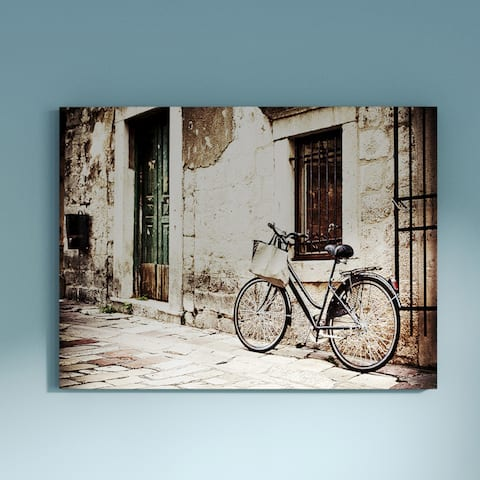 Carbon Loft Bicycle with Shopping Bag' Landscape Photography Canvas Print