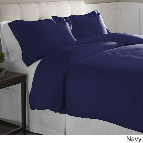Pointehaven Oversized Solid Cotton Flannel Oversized Duvet Set