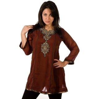 Brown-Anarkali Style Kurti with contrast colored patchwork and embroidery (2 options available)