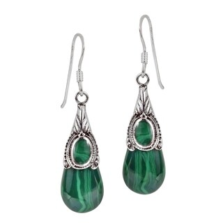 Flourishing Stone Teardrop Sterling Silver Dangle Earrings (Thailand)