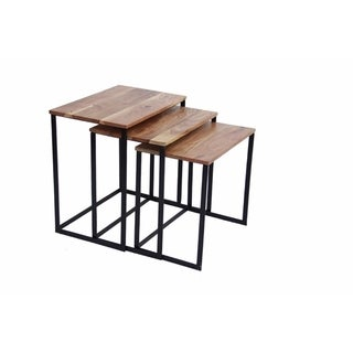 The Urban Port Industrial Style Wooden Nesting Coffee End Tables With Metal Base Set Of 3, Brown And Black