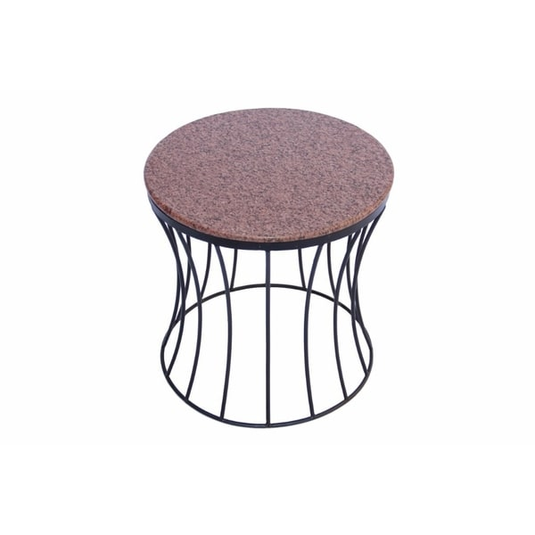 The Urban Port Drum Shaped Round Marble Top Side End Table Brown