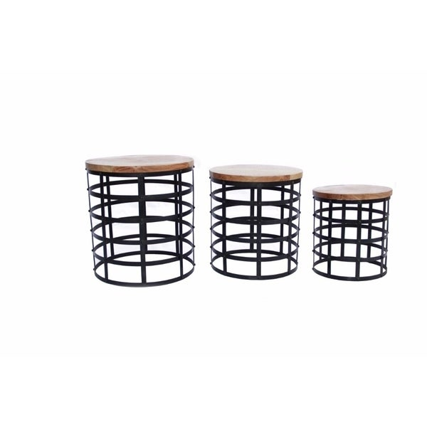 The Urban Port Round Top Nesting Coffee Tables, Black And Brown, Set Of 3