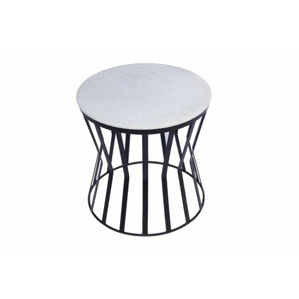 Drum Shaped Coffee Table.The Urban Port Drum Shaped Round Marble Top Side End Table White