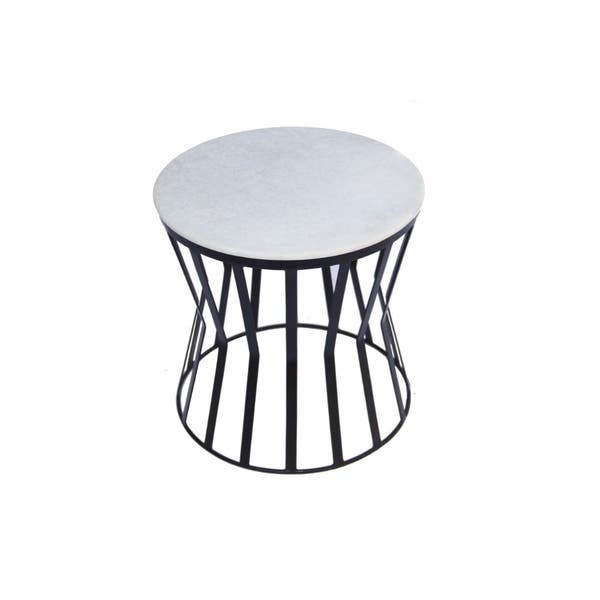 The Urban Port Drum Shaped Round Marble Top Side End Table White