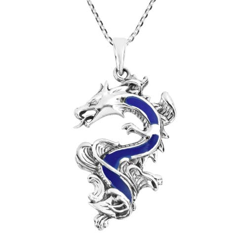 Handmade Legendary Chinese Dragon Stone Inlaid Sterling Silver Pendant Necklace (Thailand)