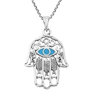 Handmade Hamsa Hand Evil Eye Stone Inlaid Sterling Silver Necklace (Thailand)
